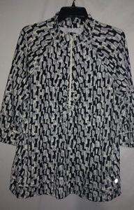 TALBOTS Black White Gray Zip Jacket 2X Plus